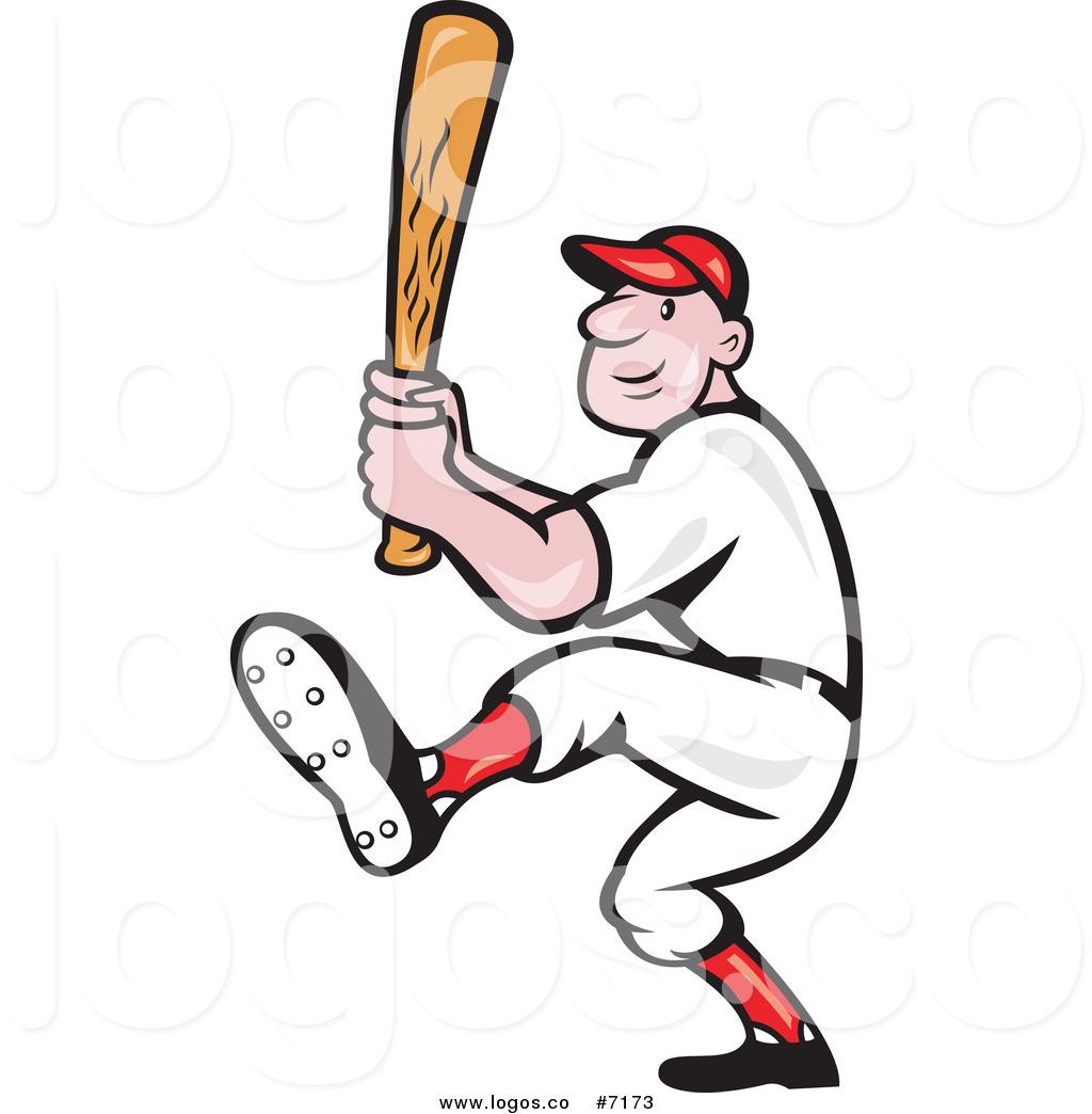 Baseball player swinging bat clipart clip royalty free stock Royalty Free Clip Art Vector Logo of a Baseball Player Athlete ... clip royalty free stock