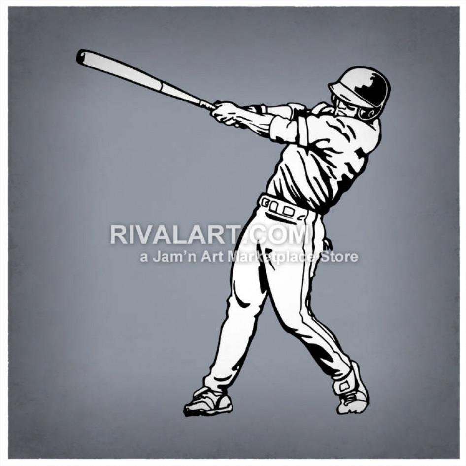 Baseball player swinging bat clipart transparent stock Baseball Player Black White Graphic Batting Batter Swinging transparent stock