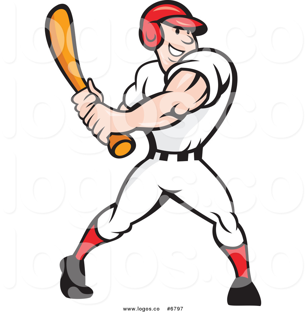 Baseball player swinging bat clipart clipart black and white library Royalty Free Clip Art Vector Logo of a Happy Baseball Player ... clipart black and white library