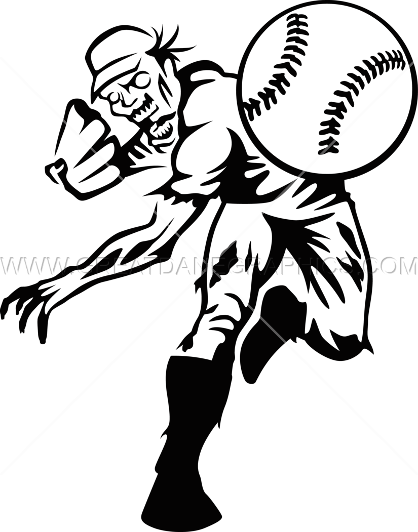 Baseball player throwing clipart vector black and white library Zombie Baseball | Production Ready Artwork for T-Shirt Printing vector black and white library