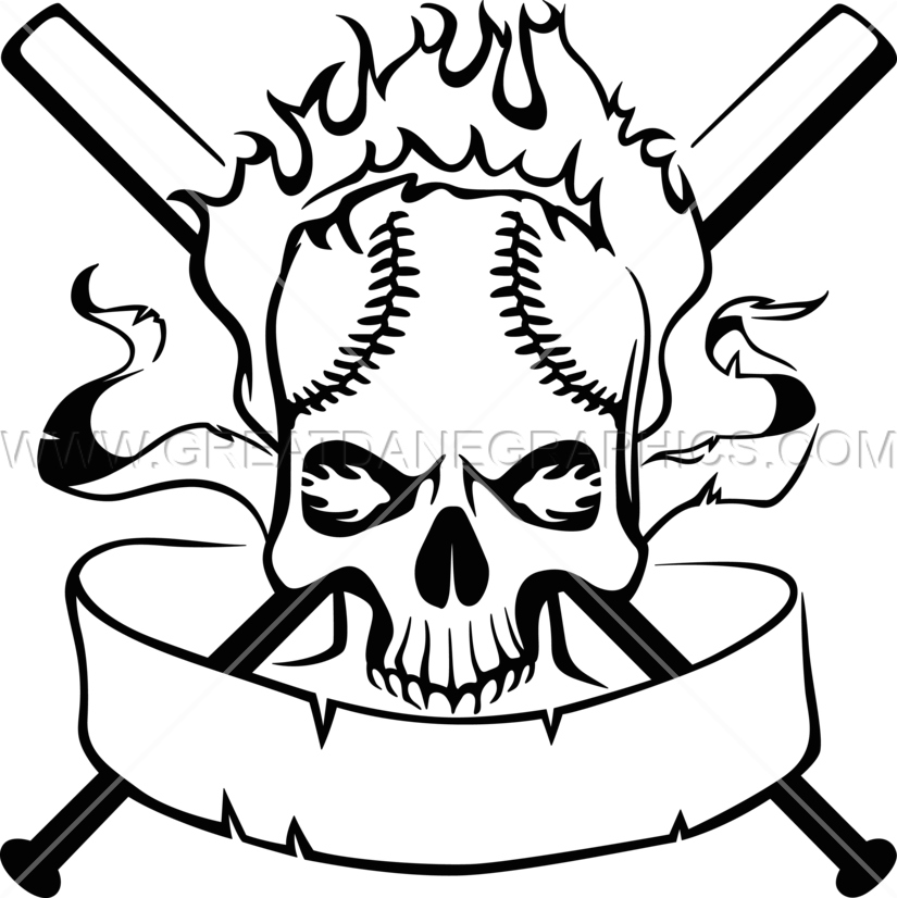 Baseball skull clipart image transparent download Baseball Skull Crest | Production Ready Artwork for T-Shirt Printing image transparent download