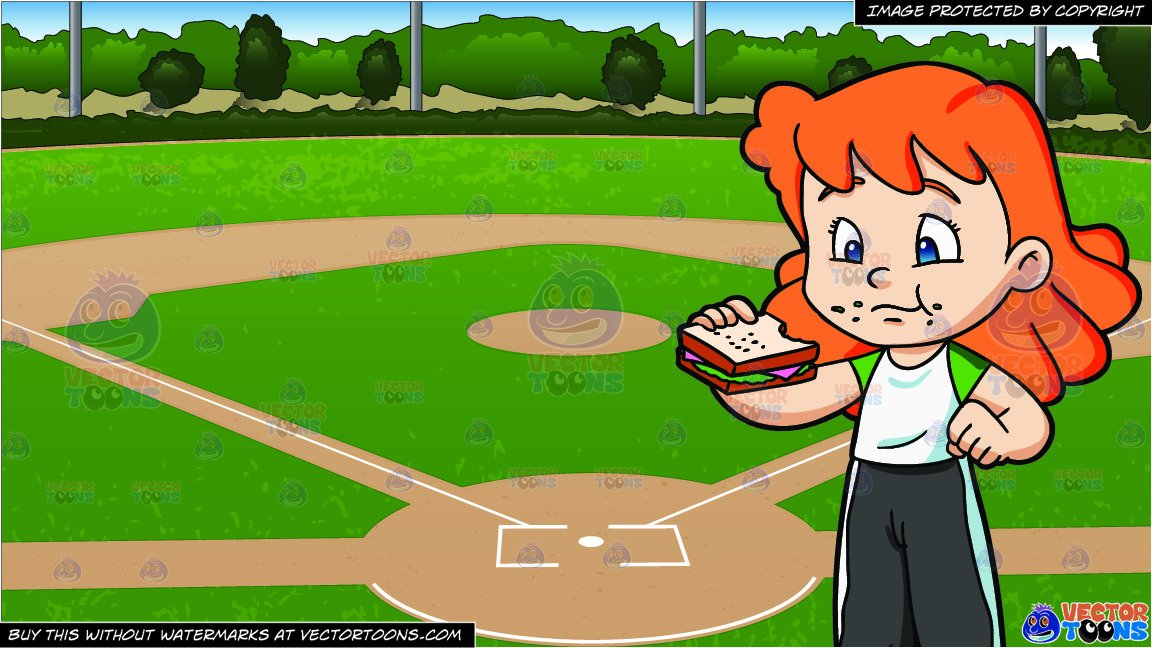 Baseball snacks clipart image freeuse A Girl Munches A Ham Sandwich For Her Snack and Baseball Diamond Background image freeuse