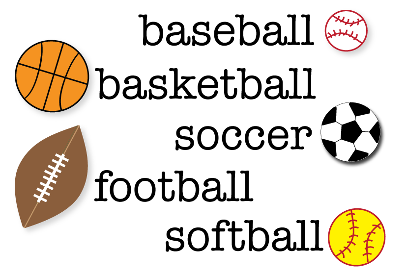 Free sports sight words. Basketball and football clipart