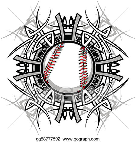 Baseball tribal clipart clip art royalty free stock Vector Clipart - Baseball softball tribal graphic im. Vector ... clip art royalty free stock