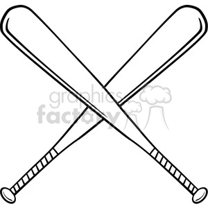 Baseball with bats crossed clipart png black and white download Black and White Crossed Baseball Bats clipart. Royalty-free clipart # 396090 png black and white download