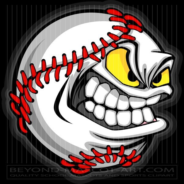 Baseball with face clipart clipart black and white stock Vector Baseball Face Cartoon Clip Art clipart black and white stock