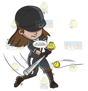 Baseball with hair clipart png library stock A Female Baseball Player Hitting The Ball With A Bat png library stock
