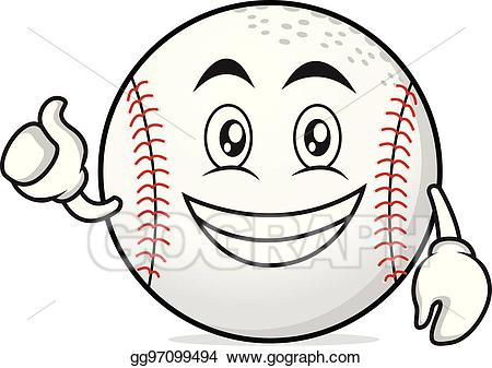 Baseball with smile face clipart png black and white download Vector Art - Optimistic face baseball cartoon character. Clipart ... png black and white download