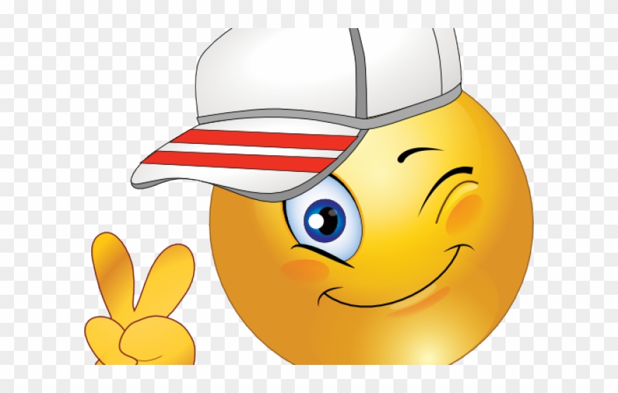 Baseball with smile face clipart clip art library library Smiley Clipart Child - Smile Emoji With Baseball Cap Peace Sign Wink ... clip art library library