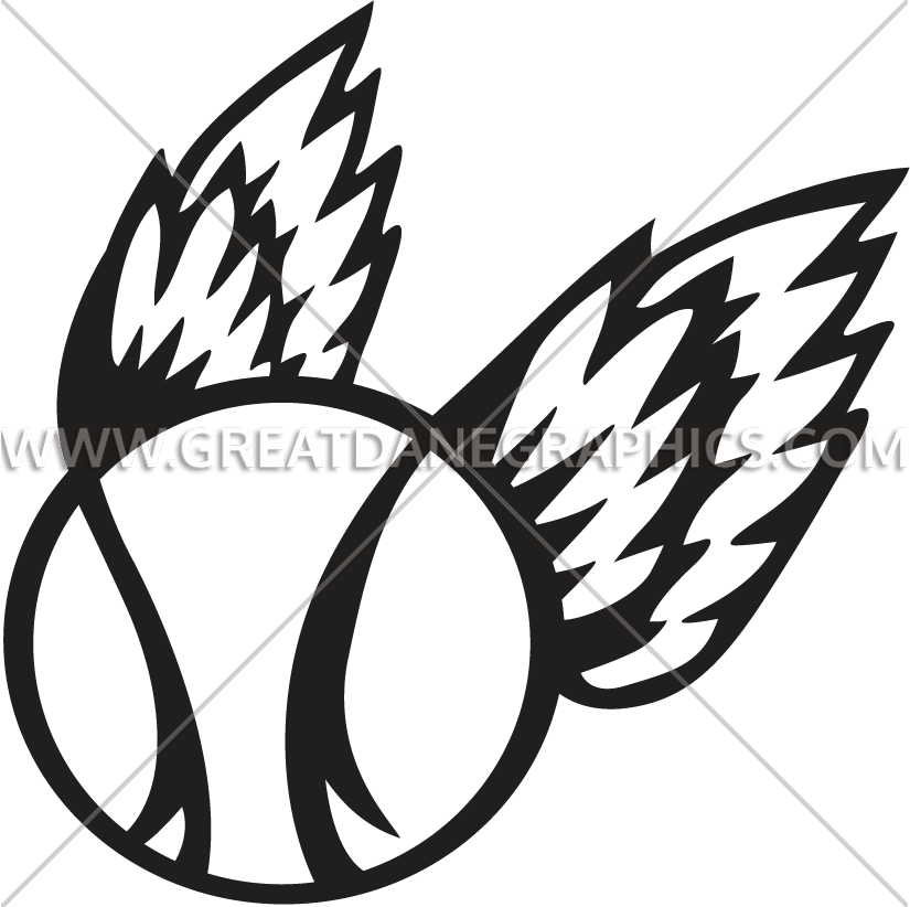 Baseball with wings clipart. Production ready artwork for