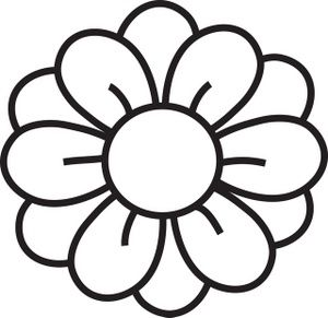 Flower clipart simple black and white