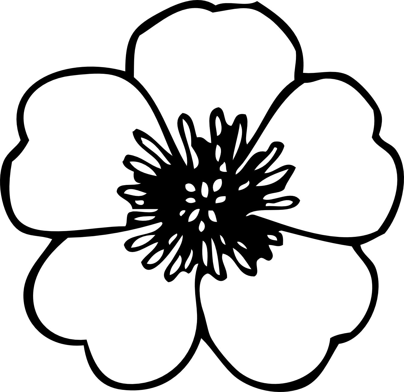 Flower clipart simple black and white. Free images download clip
