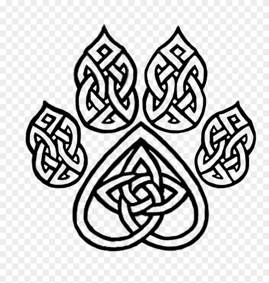 Basic celtic pattern tattoo black and white clipart image black and white stock Celtic Knot Dog Paw - Celtic Knot Animal Tattoos Clipart (#791154 ... image black and white stock