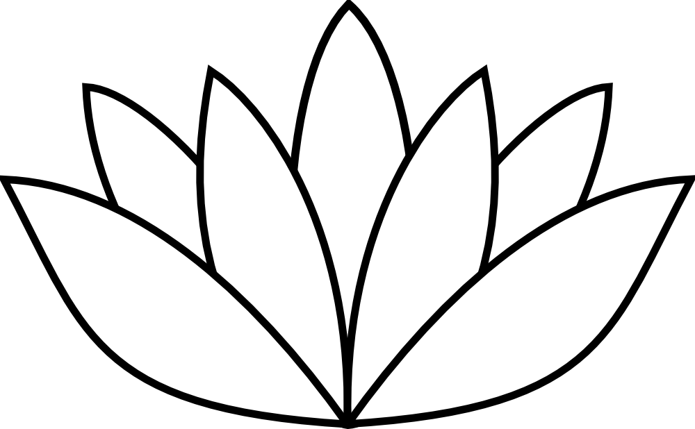 Lily pad flower clipart black and white