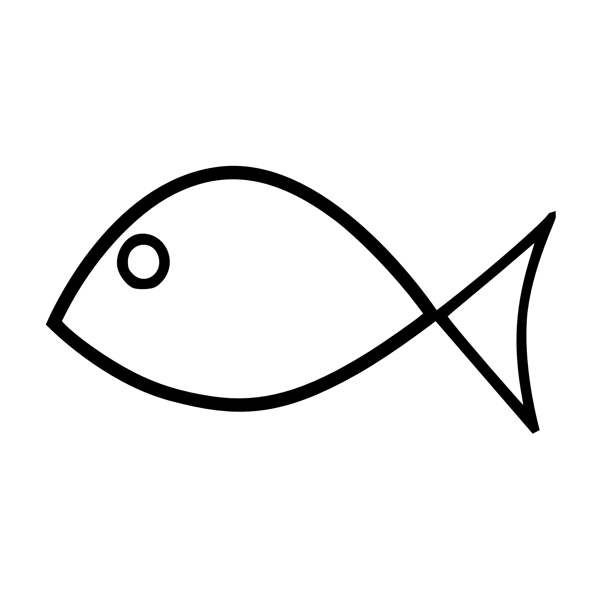 Cartoon fish clipart black and white transparent background