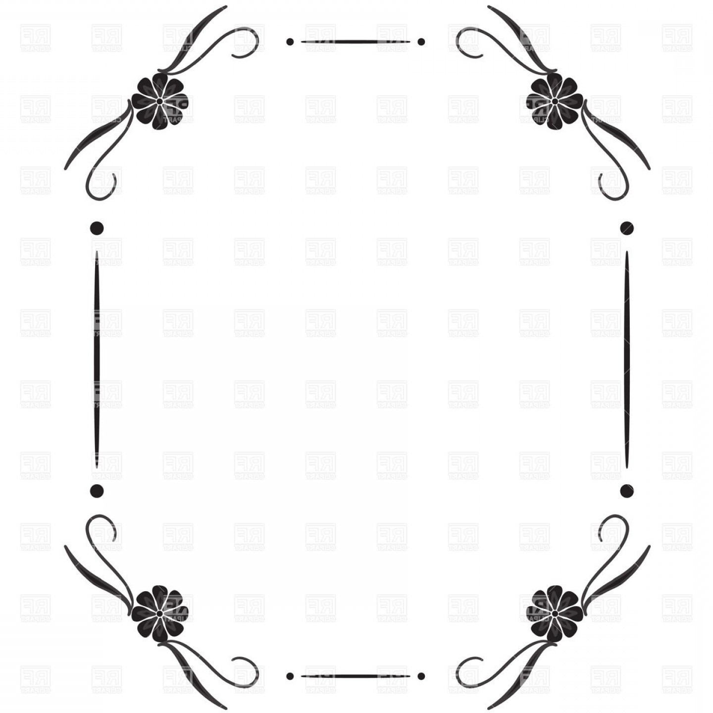 Basic line clipart svg black and white download Simple Square Vintage Frame With Vignettes In Corner Vector Clipart ... svg black and white download