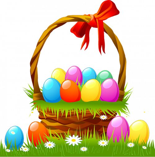 Basket clipart easter vector free easter basket | Easter Basket with Eggs and Grass | EASTER Holiday ... vector free