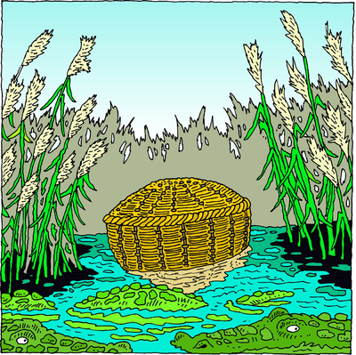 Basket clipart moses royalty free stock Image: She took for him an ark of bulrushes and laid it in the reeds ... royalty free stock