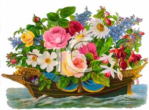 Basket full of pansies clipart picture free Big Ship Full of Flowers With Pansies - Royalty Free Clipart Picture picture free