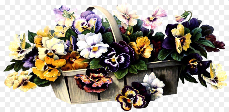 Basket full of pansies clipart royalty free library Floral Flower Background clipart - Flower, Plant, transparent clip art royalty free library