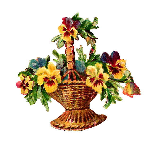 Basket full of pansies clipart image free Antique Images: Free Vintage Digital Flower Basket Clip Art of ... image free
