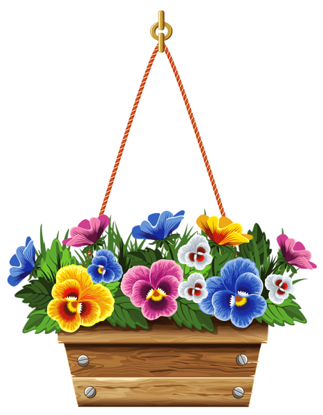 Basket full of pansies clipart picture transparent download Pin by SLGudiel on Wallpapers and more | Clip art, Hanging flower ... picture transparent download