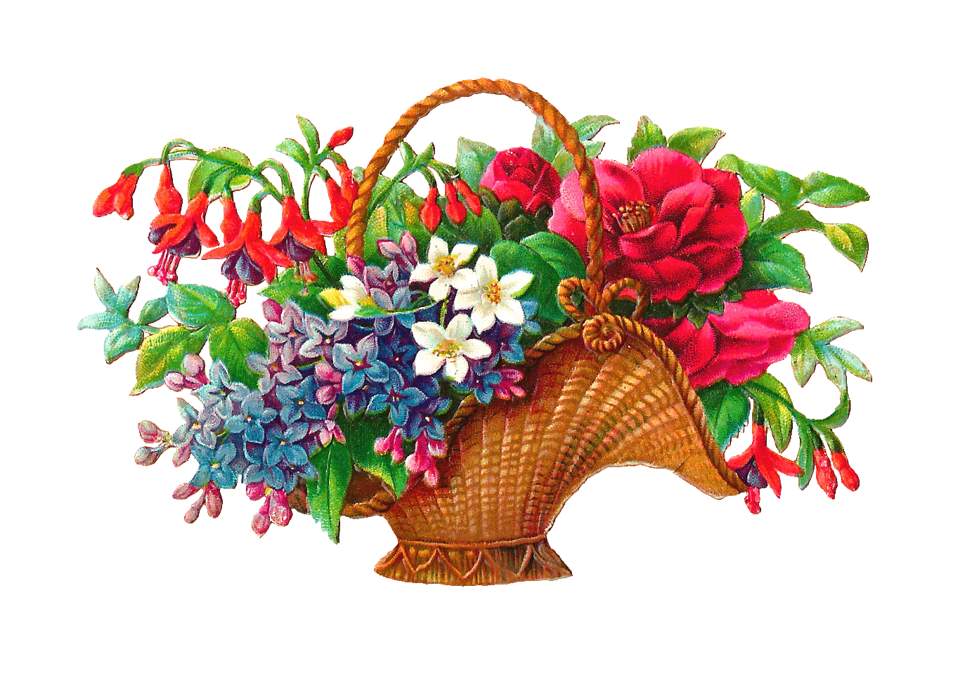 Basket full of pansies clipart graphic free download Antique Images: Free Flower Basket Clip Art: 2 Wicket Baskets Full ... graphic free download