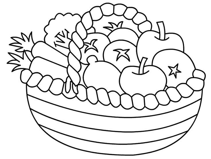 Basket of fruits and vegetables clipart black and white clip art freeuse 736x555 Astounding Design Free Coloring Pages Fruit Basket Printable ... clip art freeuse