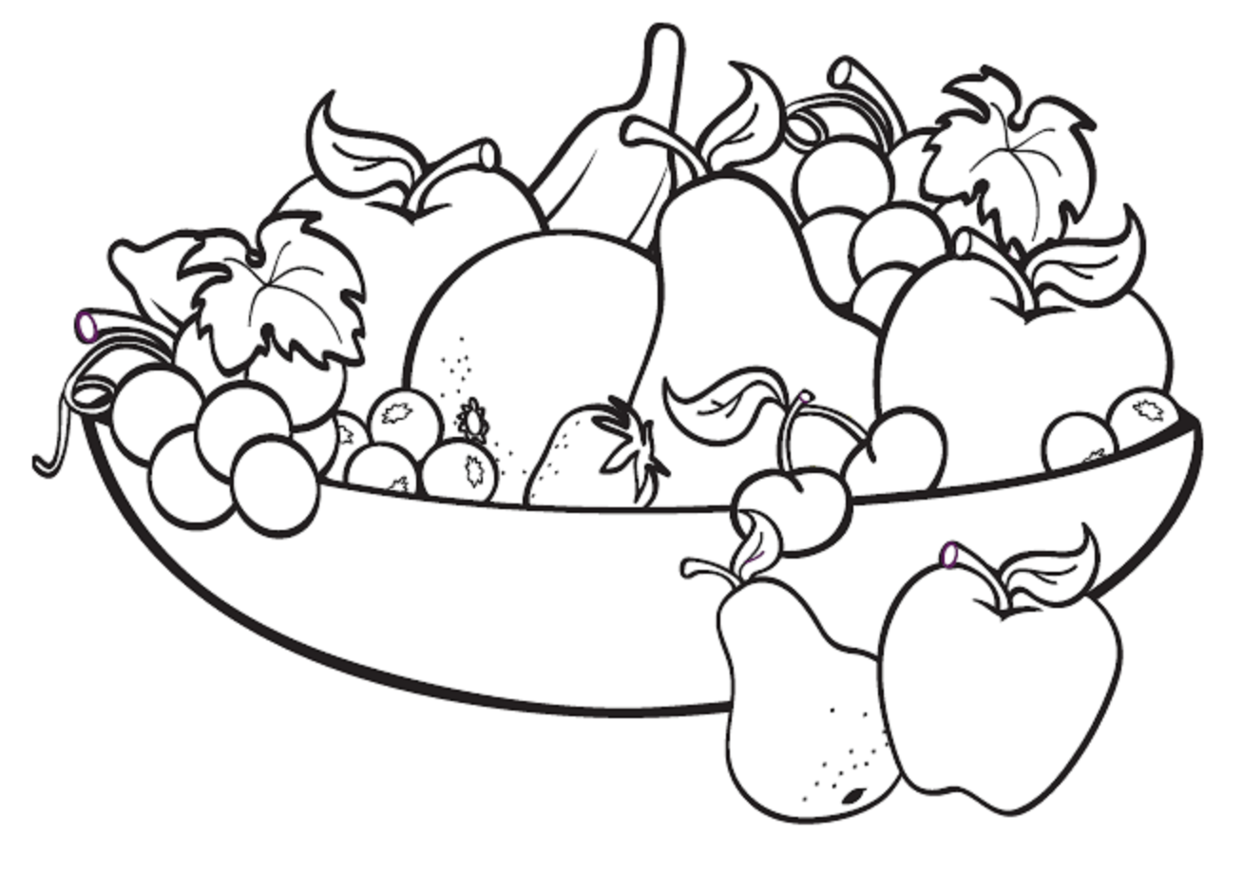 Basket of fruits and vegetables clipart black and white banner freeuse stock Fruits And Vegetables Drawing Black And White at PaintingValley.com ... banner freeuse stock