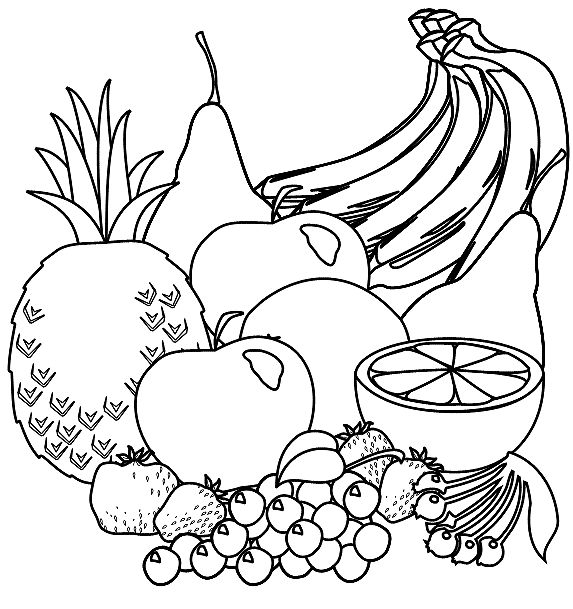 Basket of fruits and vegetables clipart black and white svg library library Vegetables black and white fruit black and white fruit clipart ... svg library library