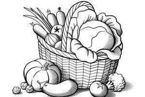 Basket of fruits and vegetables clipart black and white jpg library stock Basket of fruits clipart black and white 4 » Clipart Portal jpg library stock