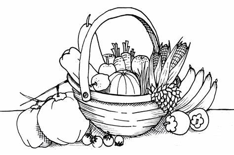 Basket of fruits and vegetables clipart black and white clipart black and white stock Vegetable Basket Sketch at PaintingValley.com | Explore collection ... clipart black and white stock
