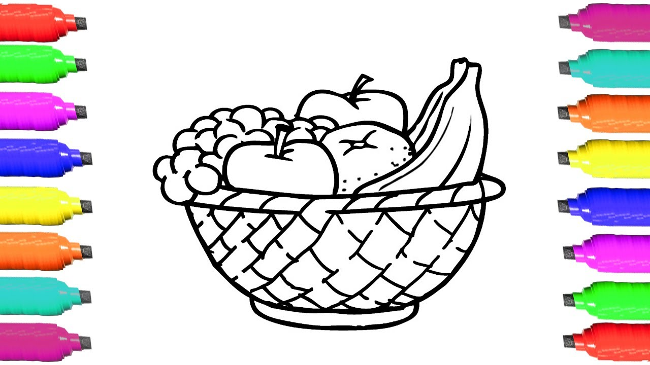 Basket simple clipart clip free download Coloring Pages Fruits - How to Draw Fruits Basket - Art Videos for Kids -  Learn Colors clip free download