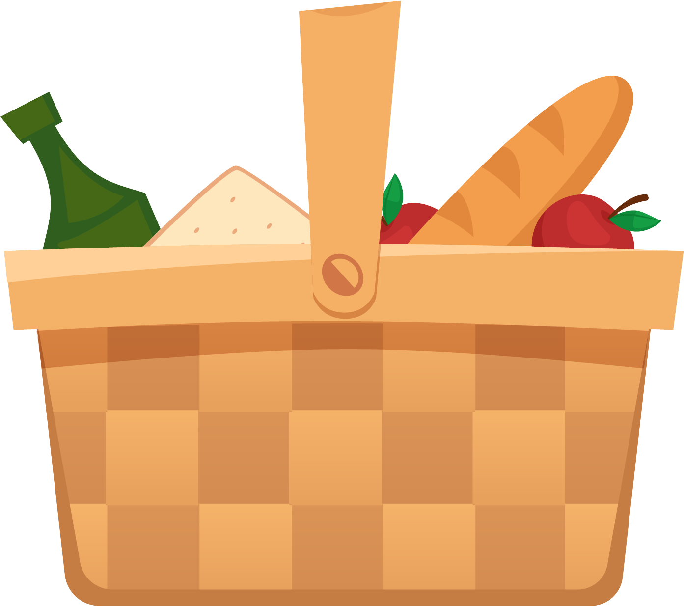 Basket simple clipart graphic freeuse download HD Dibujos Animados Simple Picnic Canasta Png Y Psd - Picnic Basket ... graphic freeuse download
