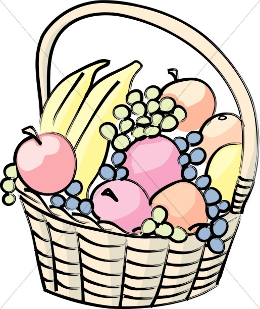 Basket with food clipart clip black and white library Basket of Fruit Cartoon | Church Food Clipart clip black and white library