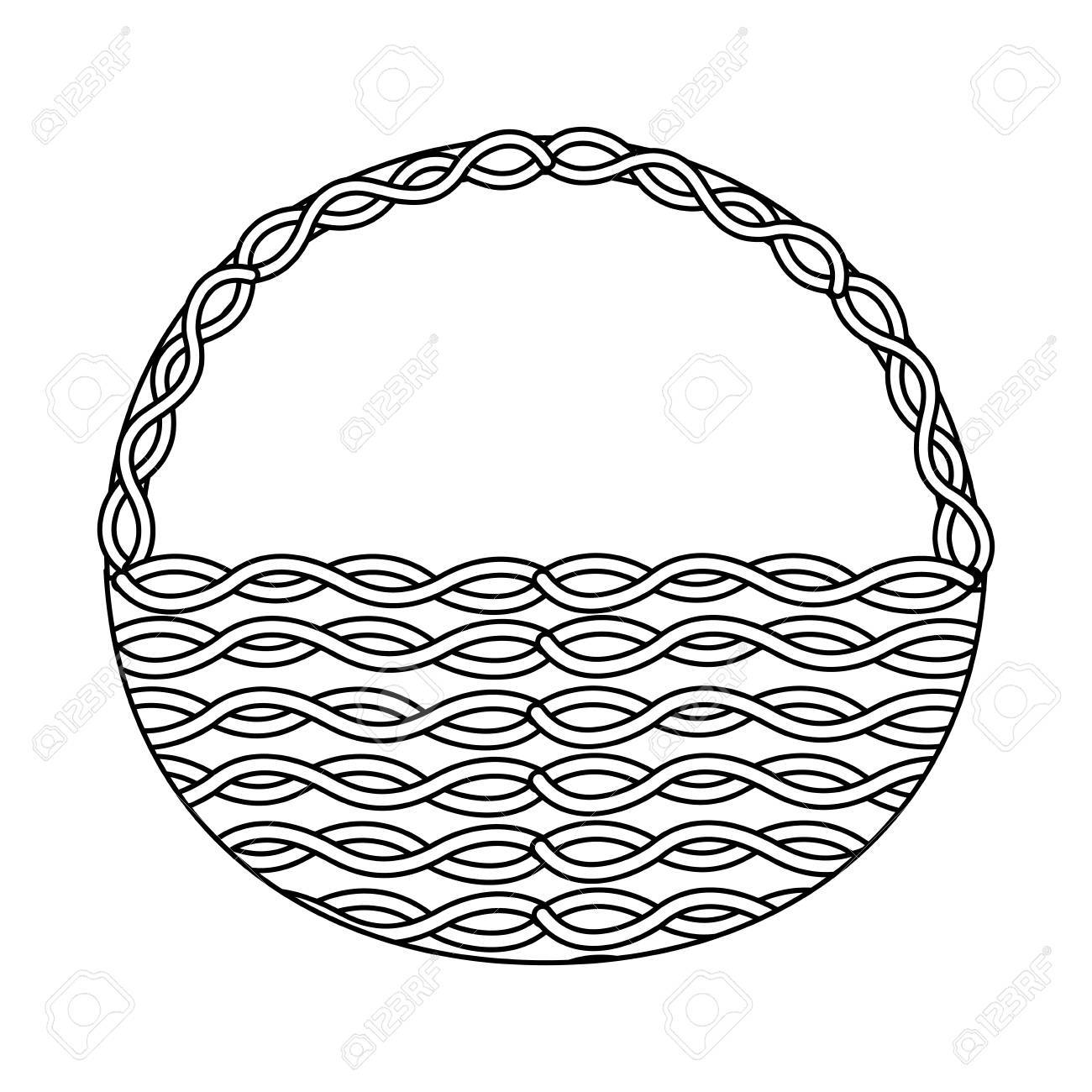 Basket without handles clipart black and white free stock Wicker basket handle round empty decoration » Clipart Portal free stock