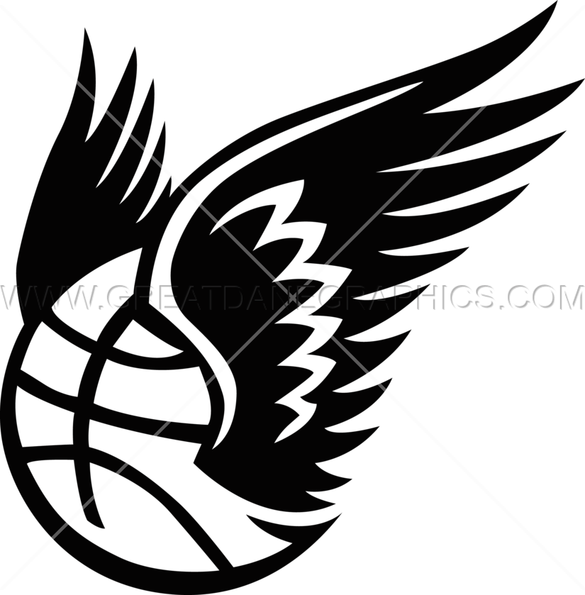 With bird wings production. Basketball and claw clipart