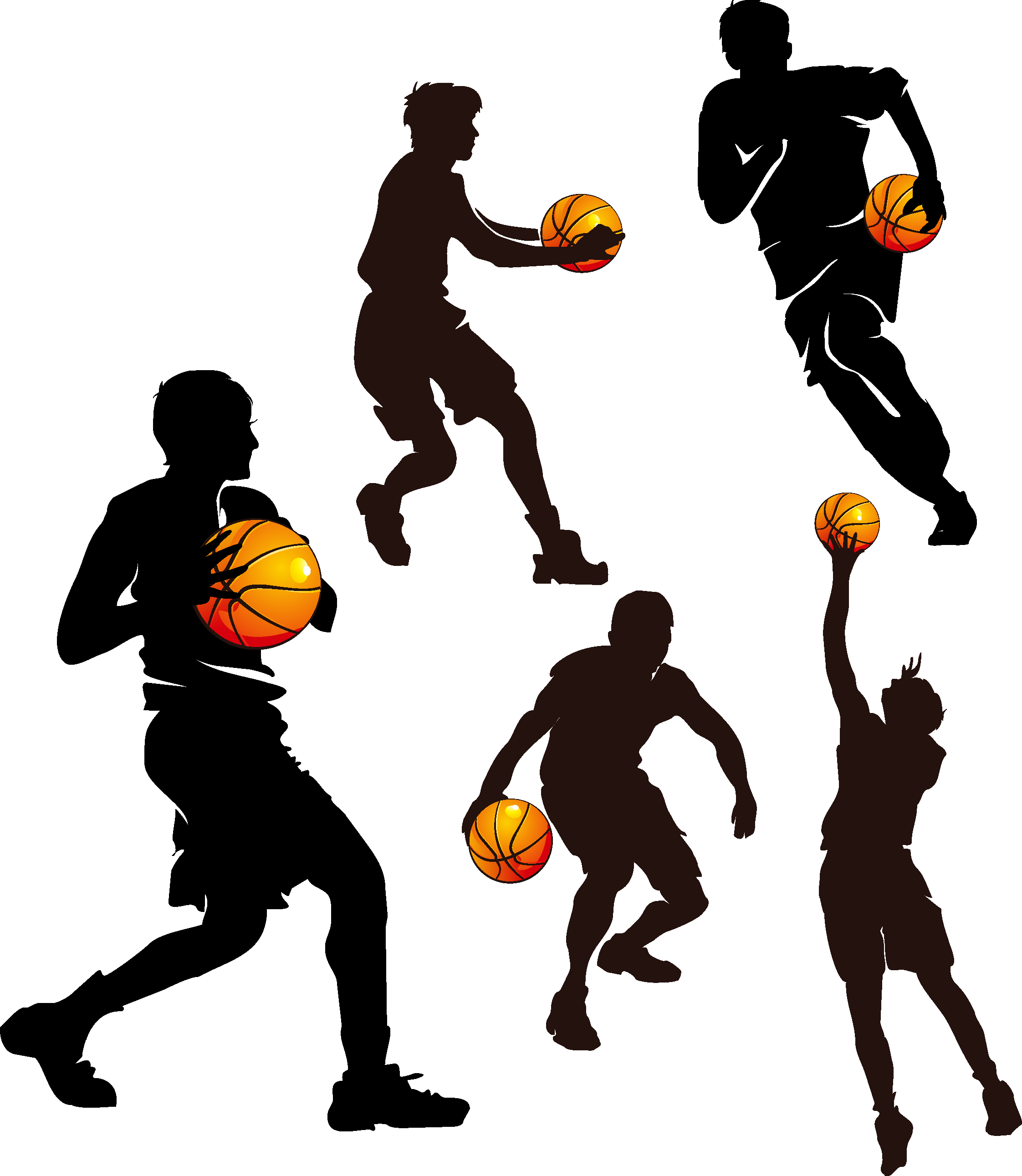 Man playing basketball clipart clip free Basketball Sport Clip art - Basketball Silhouette 2244*2583 ... clip free