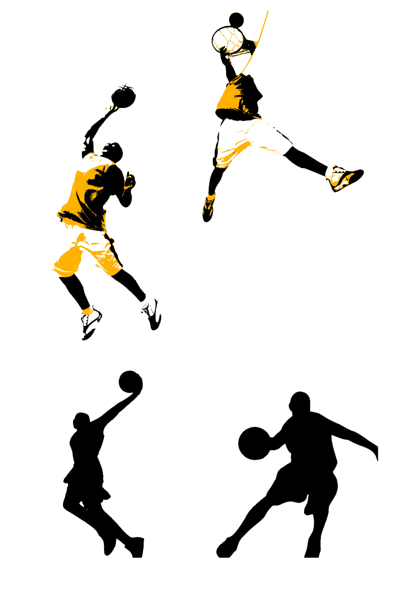 Basketball player shooting clipart image free Basketball court Slam dunk Clip art - Yellow basketball player ... image free