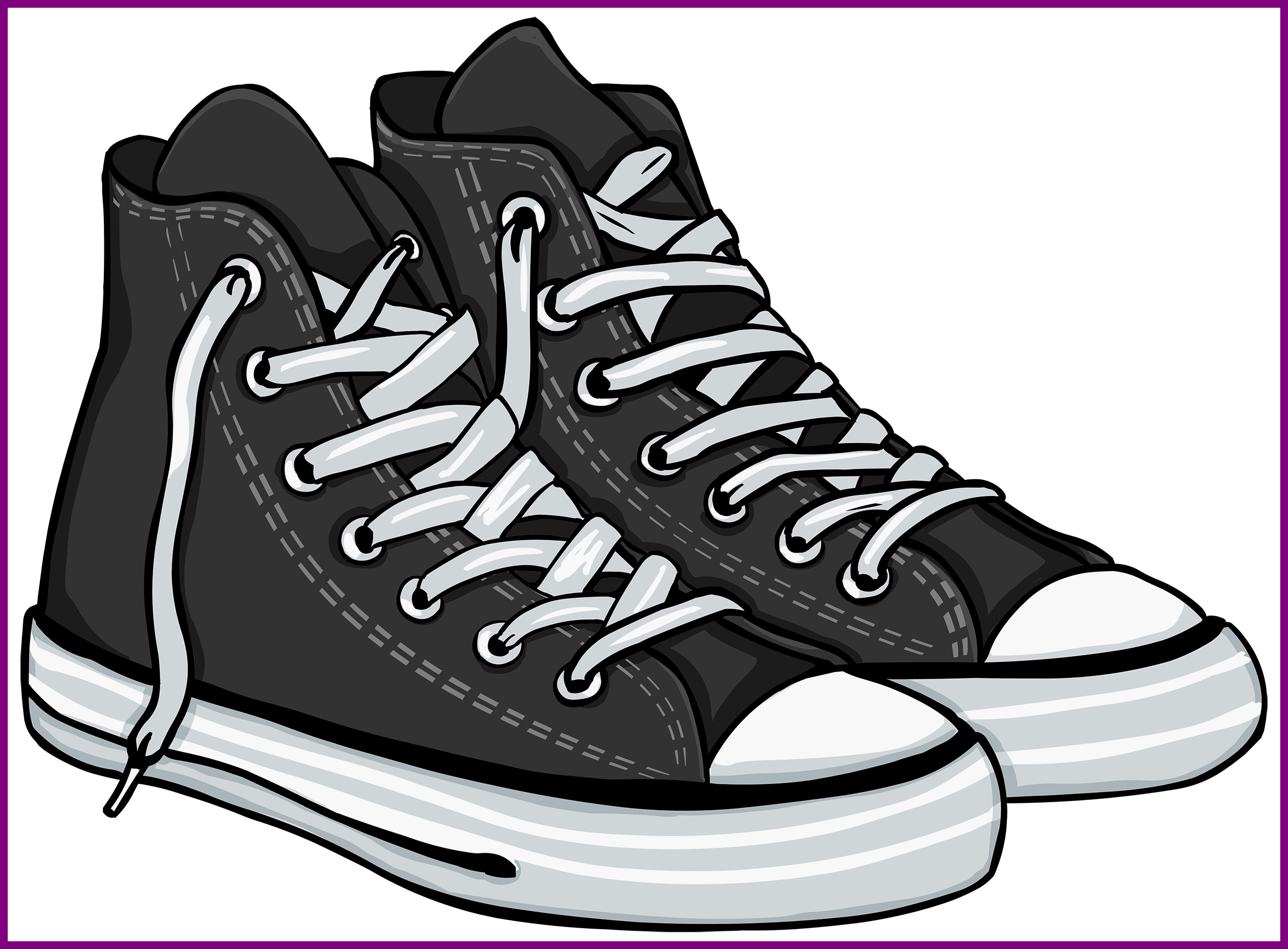 Basketball shoes black and white clipart black and white library Stunning Clip Art Flip Flop Border Pics For Shoes Clipart Style And ... black and white library