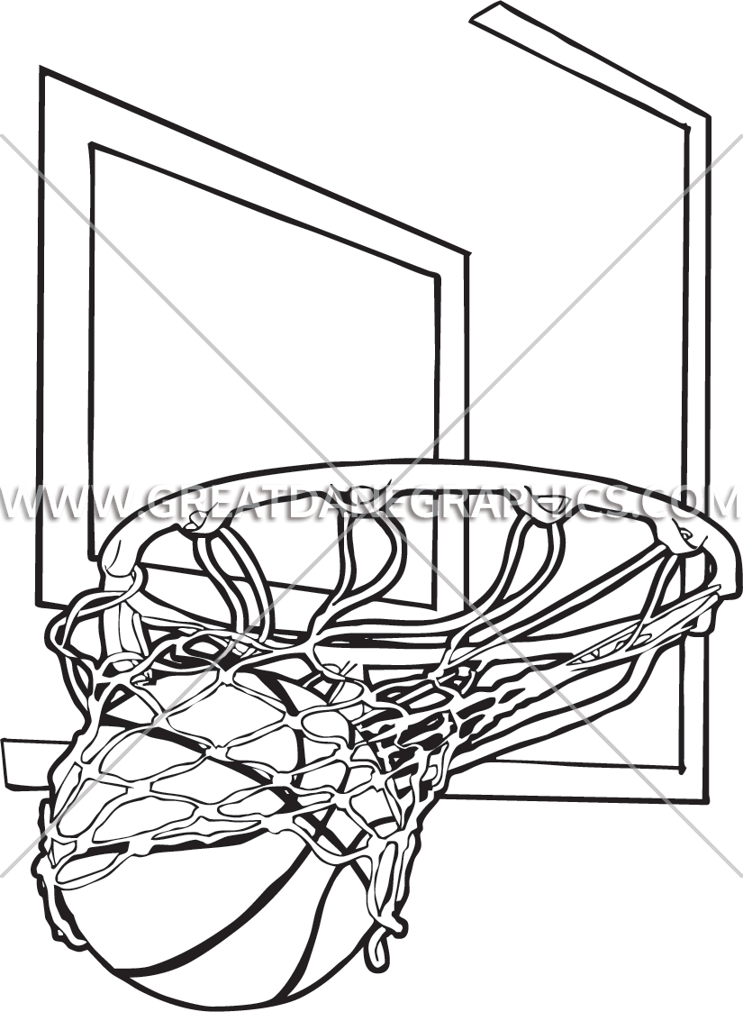 Basketball hoop side view clipart clip black and white Basketball Net Drawing at GetDrawings.com | Free for personal use ... clip black and white
