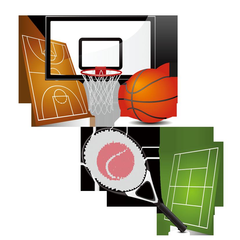 Basketball ball over court clipart jpg transparent library Sports equipment Basketball Clip art - Tennis racket 827*827 ... jpg transparent library