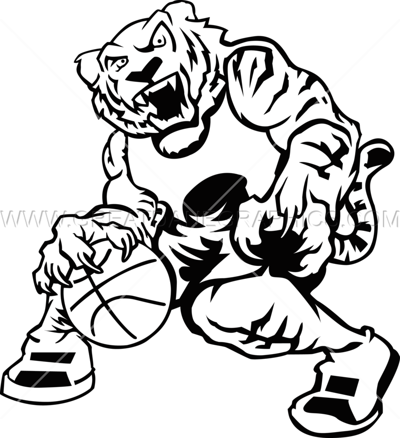 Basketball black white clipart graphic free stock Basketball Tiger | Production Ready Artwork for T-Shirt Printing graphic free stock