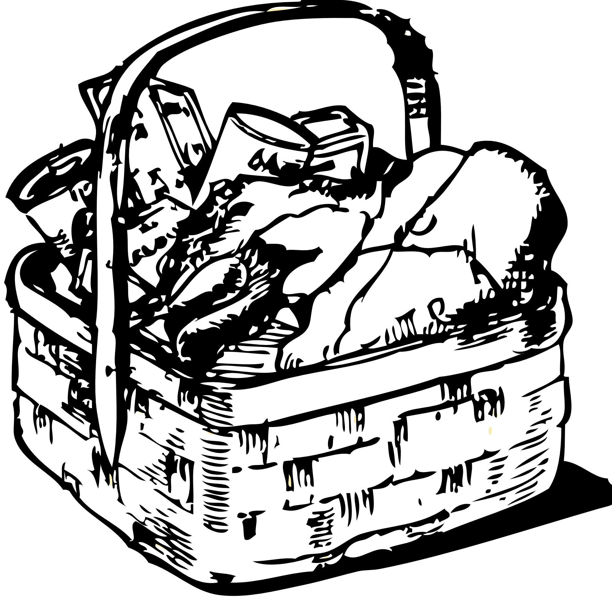 Book basket clipart vector royalty free Black And White Clip Art Food Clipart Best, Laundry Bag Clip Art ... vector royalty free