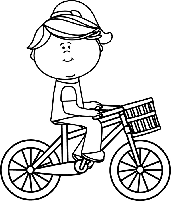 Black & White Girl Riding a Bicycle with a Basket Clip Art - Black ... graphic free stock