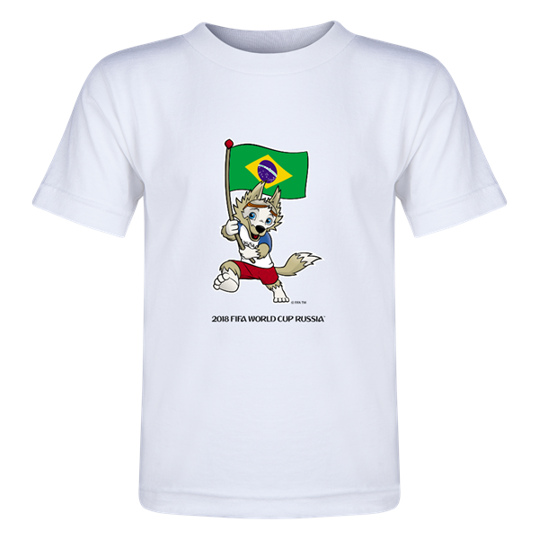 Football championship winners logo for t shirts clipart clip art library download Brazil 2018 FIFA World Cup Russia™ Zabivaka Toddler T-Shirt (White ... clip art library download