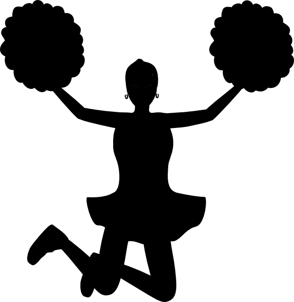 Free football player and cheerleader clipart black and white clip art stock Cheerleader Clipart Silhouette at GetDrawings.com | Free for ... clip art stock