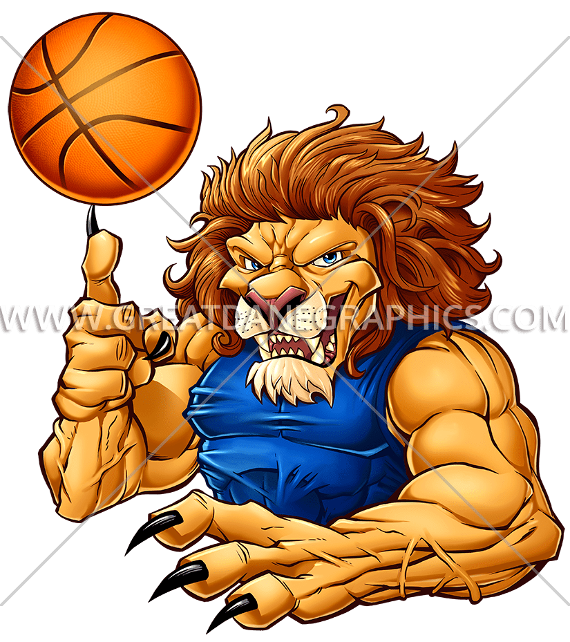 Basketball clipart color black and white Basketball Lion | Production Ready Artwork for T-Shirt Printing black and white