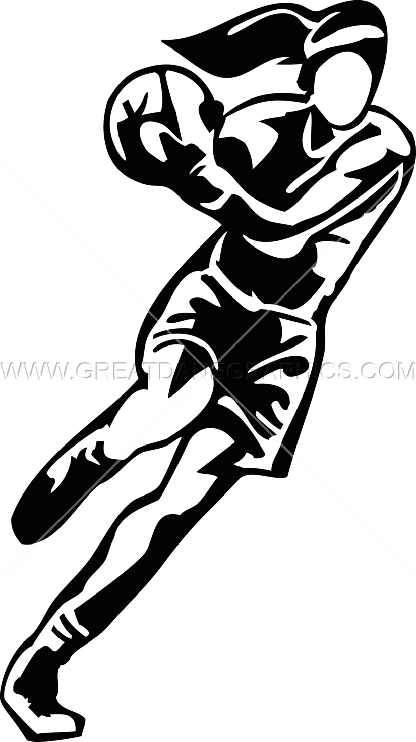 Basketball player black and white clipart picture freeuse Female Basketball Player | Production Ready Artwork for T-Shirt Printing picture freeuse