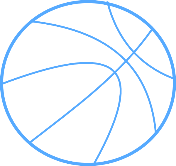 Free color basketball clipart vector black and white library Blue Basketball Outline Clip Art at Clker.com - vector clip art ... vector black and white library
